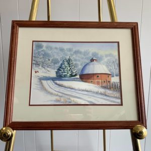 Water color painting of farm building in country with snow by Steve Shonk