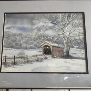 water color painting of bridge over river in winter by Steve Shonk