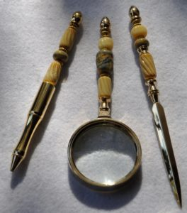 Ornate bead desk set by Connie Wahl