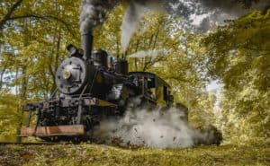 Image of black steam train in the fall