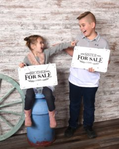 Boy and girl siblings portrait photo