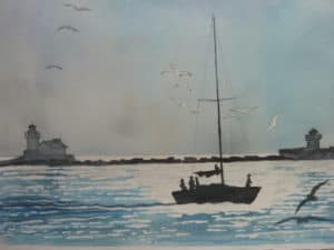 Water color painting of Cleveland Harbor by Steve Shonk