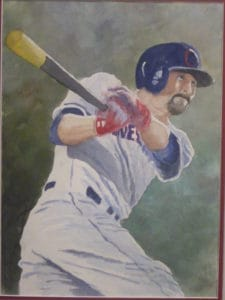 Water color painting of Cleveland baseball player by Steve Shonk