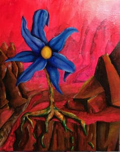 anthony contini blue flower with red background painting