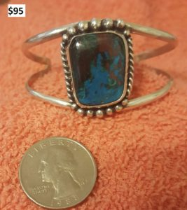 silver bangle bracelet with blue stone by don gesaman