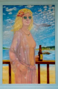 ed steffek painting of lady at beach