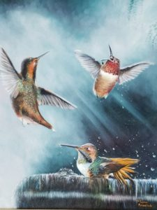 painting of 3 humming birds bathing in water by Lynn Fraelich