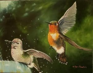 Painting of two humming birds by Lynn Fraelich