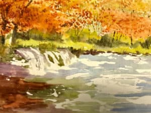 Fall river and woodland watercolor painting by Ed Paradise