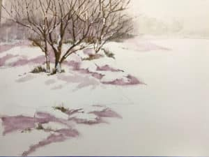 Snowy landscape watercolor painting by Ed Paradise