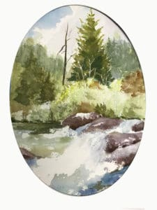 River and woods watercolor painting by Ed Paradise
