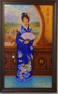 ed steffeck painting of asian lady in kimono holding fan with cat rubbing against her arm