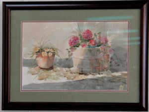 yellow flowers in pot and pink flowers in barrel watercolor painting by Ed Paradise