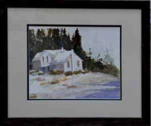 White house on water watercolor painting by Ed Paradise