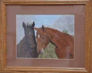 reddish brown horse and dark brown horse art piece by jane hazell