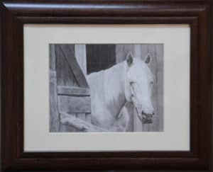 white horse in stable art piece by jane hazell