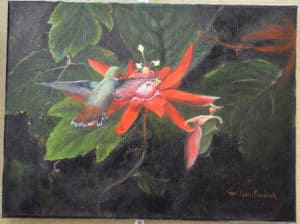 Painting of hummingbird on red flower by Lynn Fraelich