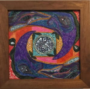 Deep purple mosaic mixed media art by Stephanie Space