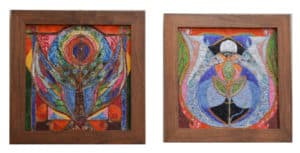 Two pieces of mosaic mixed media art by Stephanie Space