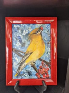 john wallace oil on canvas painting of a yellow bird with red berry in its mouth