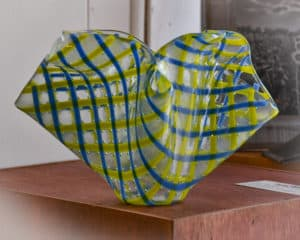 Yellow and blue checked glass vase by Nancy Rees